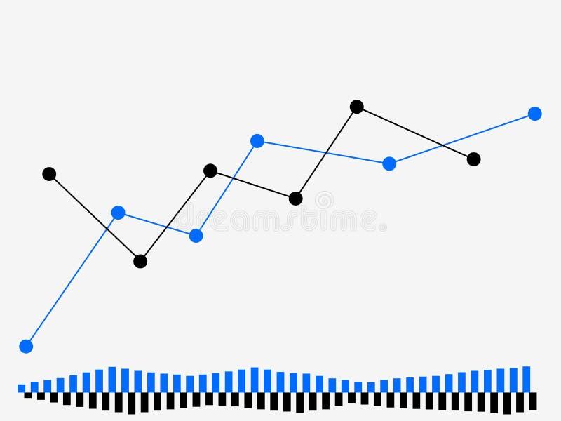 Zeitplan des Handels auf der Börse Händlerschirm Devisen, Kerzen auf Lager Vektor stock abbildung