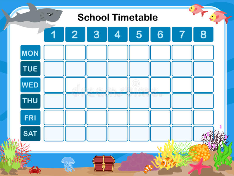 Zeitplan für Schule lizenzfreie abbildung