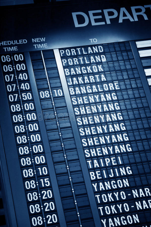 Zeitplan im Flughafen lizenzfreies stockfoto