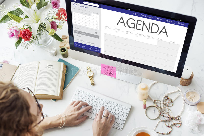 Zeitplan-Kalender-Tagesordnungs-Anzeigen-persönlicher Organisator Concept stockfotografie