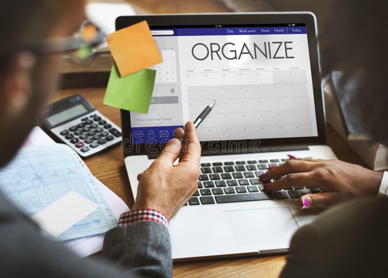 Zeitplan-Kalender-Tagesordnungs-Anzeigen-persönlicher Organisator Concept stockbilder