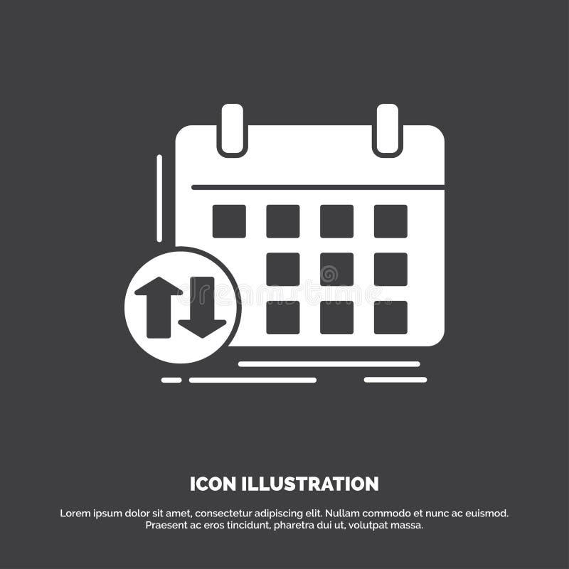 Zeitplan, Klassen, Zeitplan, Verabredung, Ereignis Ikone Glyphvektorsymbol f?r UI und UX, Website oder bewegliche Anwendung lizenzfreie abbildung