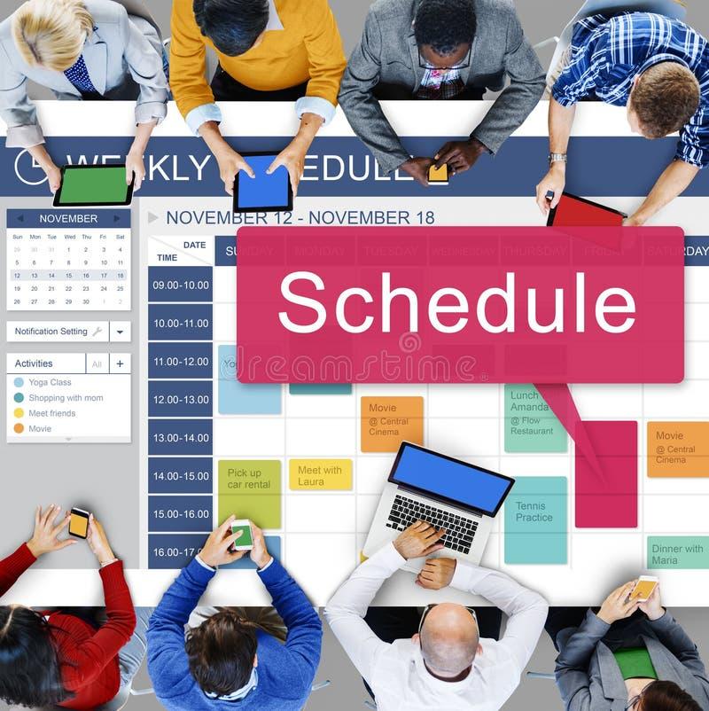 Zeitplan-Organisationsplanungs-Liste, zum des Konzeptes zu tun lizenzfreies stockfoto