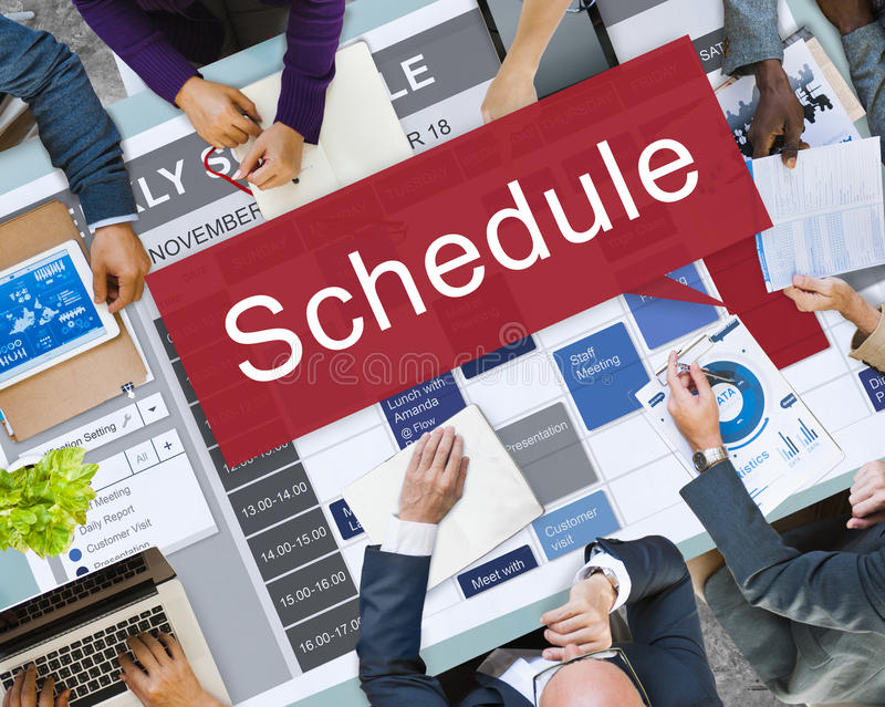 Zeitplan-Organisationsplanungs-Liste, zum des Konzeptes zu tun stockfoto
