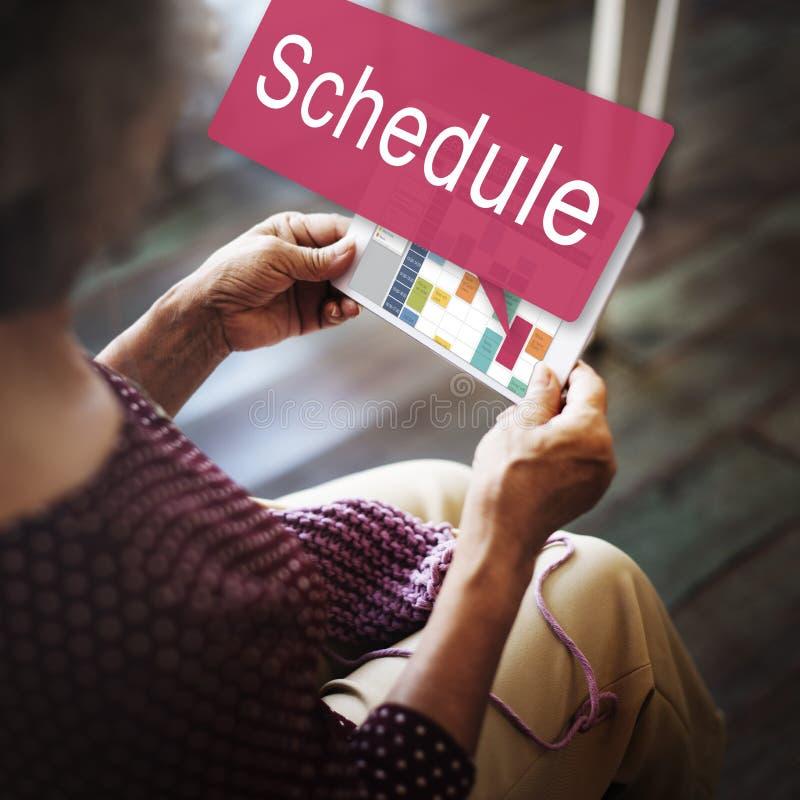 Zeitplan-Organisationsplanungs-Liste, zum des Konzeptes zu tun stockfotografie