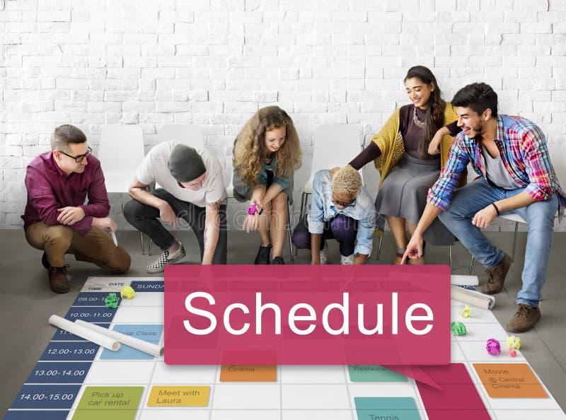 Zeitplan-Organisationsplanungs-Liste, zum des Konzeptes zu tun lizenzfreies stockbild