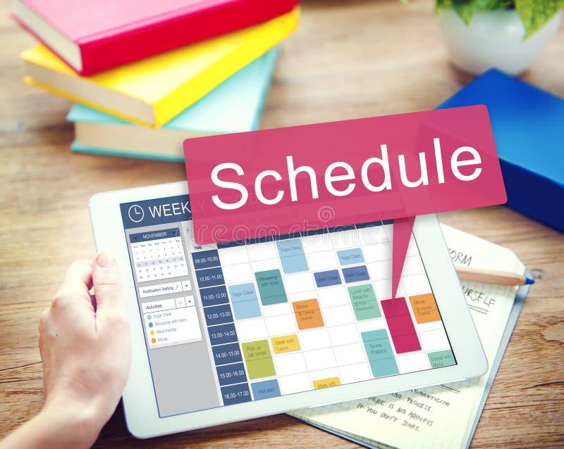 Zeitplan-Organisationsplanungs-Liste, zum des Konzeptes zu tun lizenzfreie stockfotos