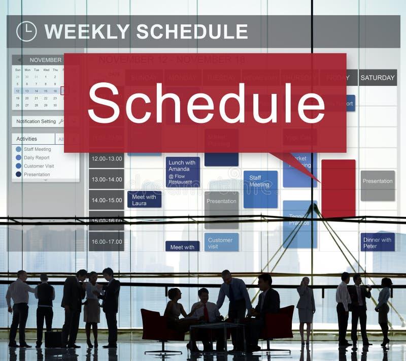 Zeitplan-Organisationsplanungs-Liste, zum des Konzeptes zu tun lizenzfreie stockfotografie