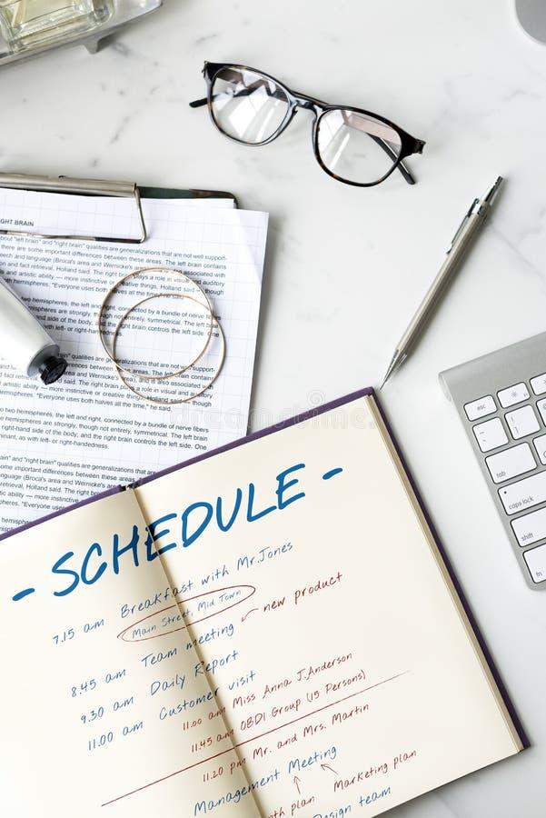 Zeitplan-Planungs-Zeit-Tätigkeits-Konzept lizenzfreies stockbild