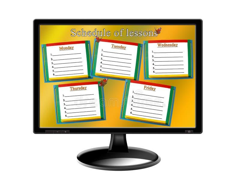 Zeitplan von Lektionen für eine Woche auf dem Monitor lizenzfreies stockbild