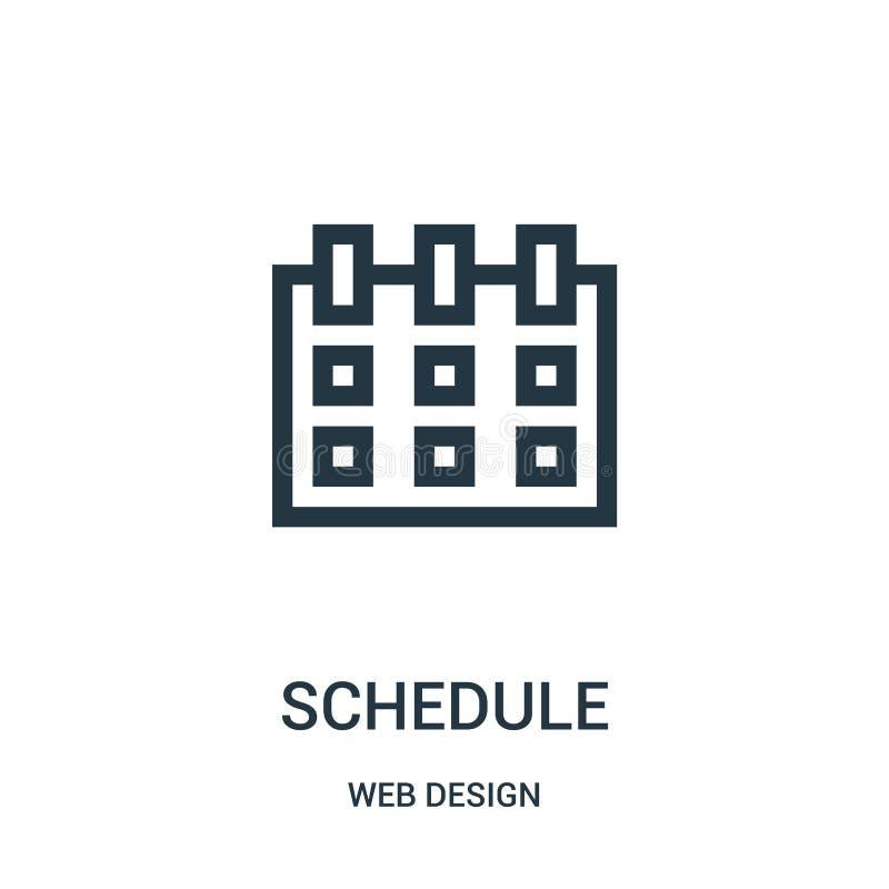 Zeitplanikonenvektor von der Webdesignsammlung D?nne Linie Zeitplanentwurfsikonen-Vektorillustration stock abbildung