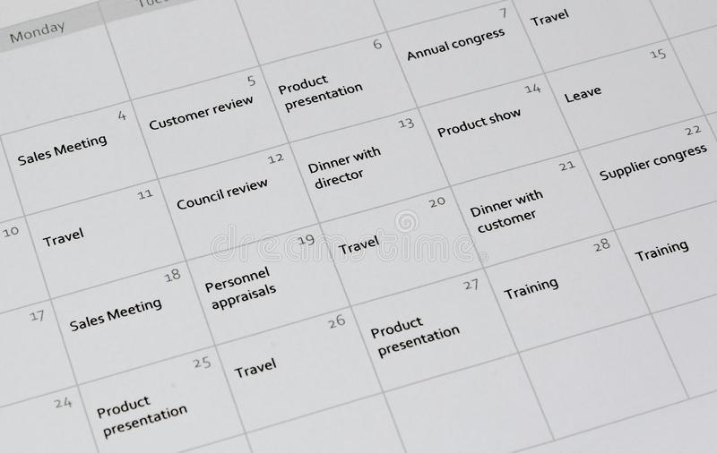 Zeitplanung für einen Monat stockfotografie