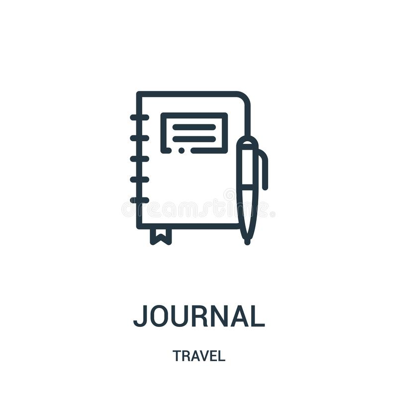 Zeitschriftenikonenvektor von der Reisesammlung Dünne Linie Zeitschriftenentwurfsikonen-Vektorillustration Lineares Symbol für Ge vektor abbildung