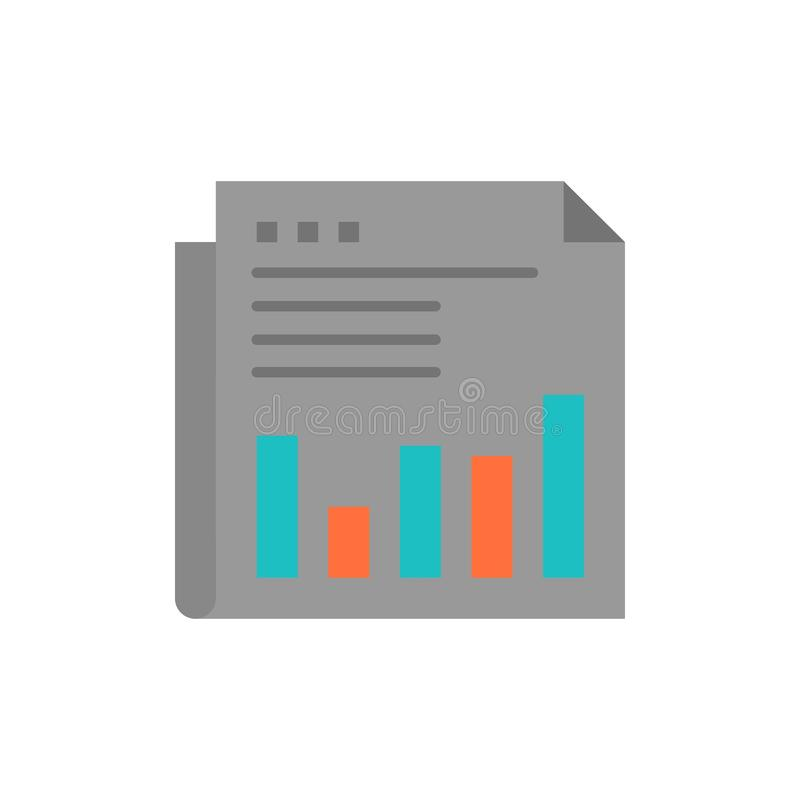 Zeitung, Geschäft, finanziell, Markt, Nachrichten, Papier, Zeit-flache Farbikone Vektorikonen-Fahne Schablone lizenzfreie abbildung