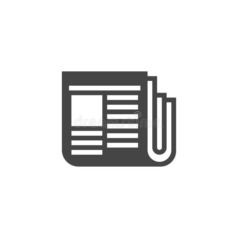 Zeitung Glyphikone Netzgraphik-Druckaufkleber Flaches Logo der Zeitschrift Tagespresse, Journalismus, Boulevardzeitungen, Werbeko lizenzfreie abbildung
