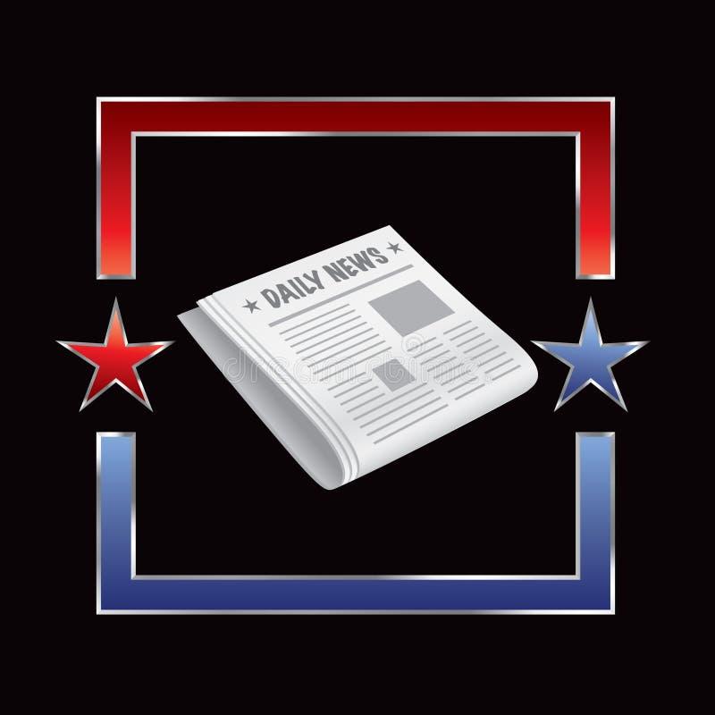 Zeitung im Feld des roten und blauen Sternes stock abbildung