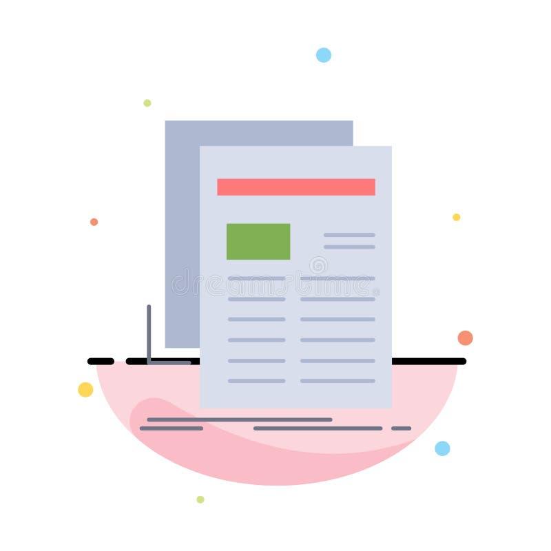 Zeitung, Medien, Nachrichten, Newsletter, Zeitung flacher Farbikonen-Vektor vektor abbildung