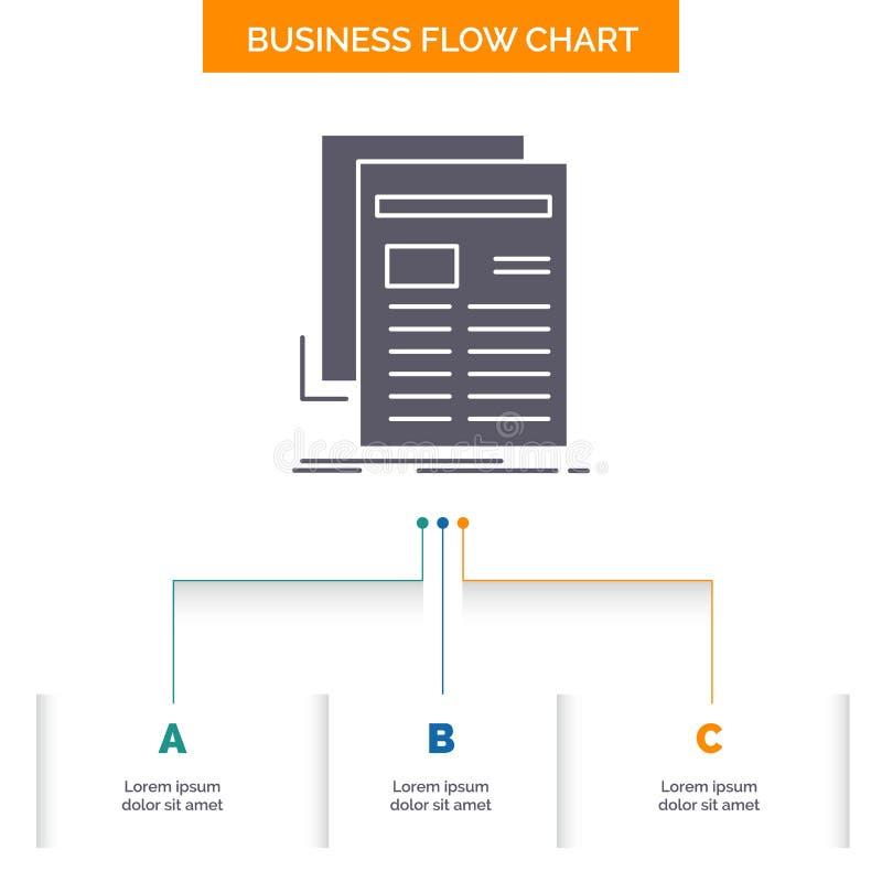 Zeitung, Medien, Nachrichten, Newsletter, Zeitung Gesch?fts-Flussdiagramm-Entwurf mit 3 Schritten Glyph-Ikone f?r Darstellungs-Hi stock abbildung