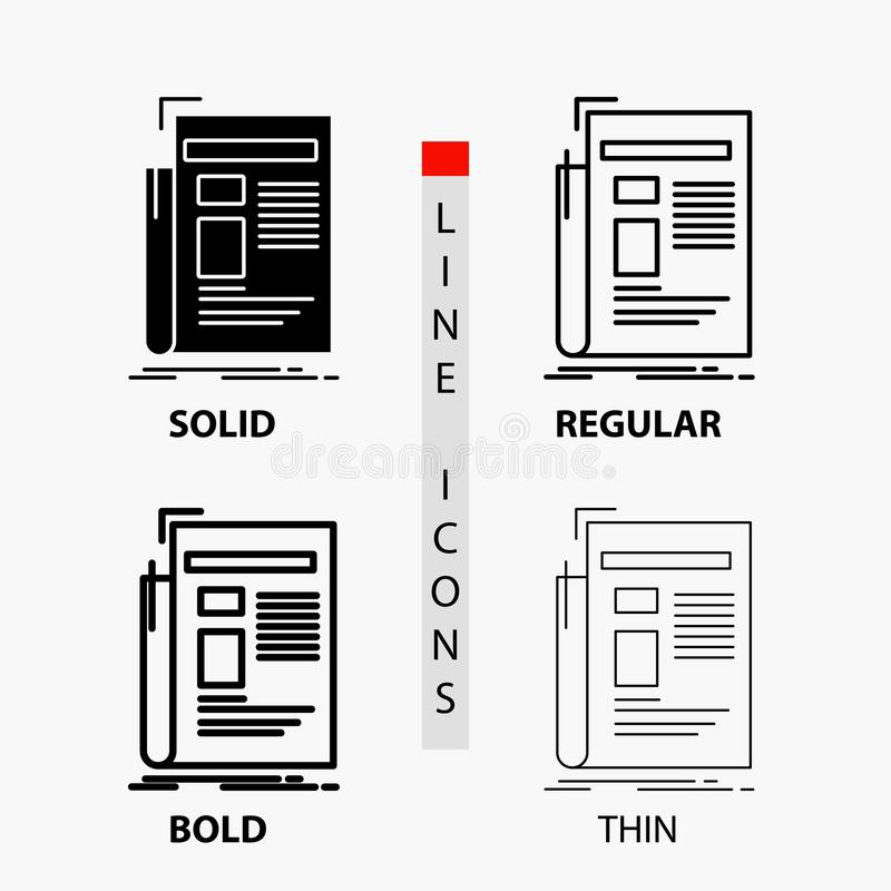 Zeitung, Medien, Nachrichten, Newsletter, Zeitung Ikone in der d?nnen, regelm??igen, mutigen Linie und in der Glyph-Art Auch im c lizenzfreie abbildung