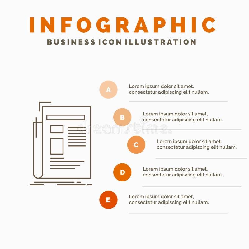 Zeitung, Medien, Nachrichten, Newsletter, Zeitung Infographics-Schablone f?r Website und Darstellung Linie graue Ikone mit Orange stock abbildung