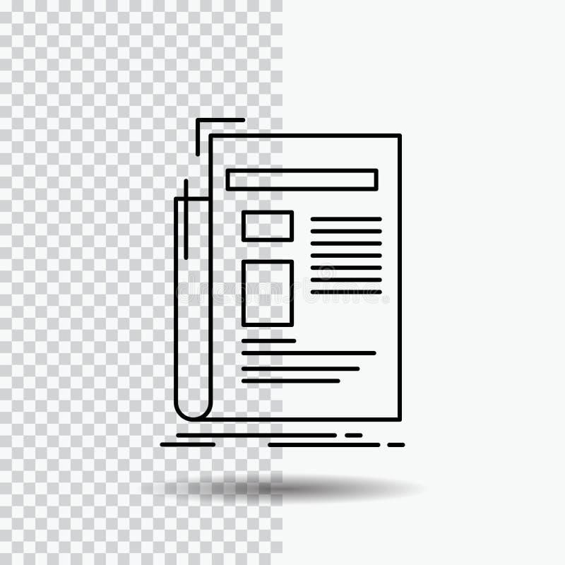 Zeitung, Medien, Nachrichten, Newsletter, Zeitung Linie Ikone auf transparentem Hintergrund Schwarze Ikonenvektorillustration lizenzfreie abbildung