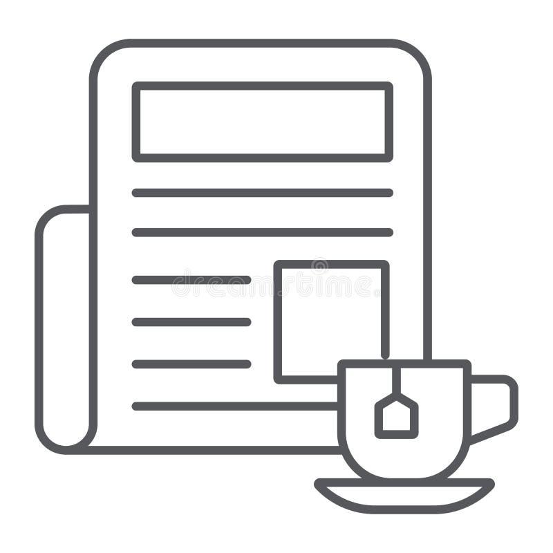 Zeitung mit dünner Linie Ikone der Schale, Morgen und Nachrichten, Tageszeitungszeichen, Vektorgrafik, ein lineares Muster auf ei lizenzfreie abbildung