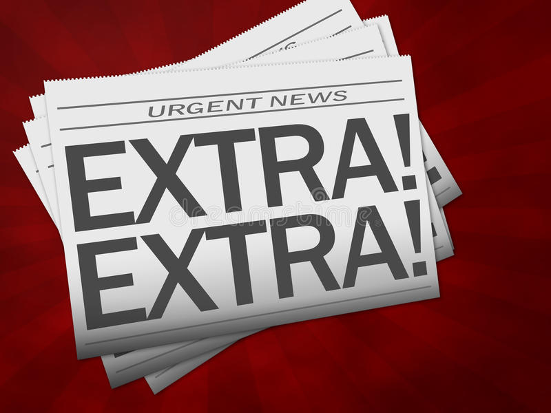 Zeitung mit Extratext lizenzfreie abbildung