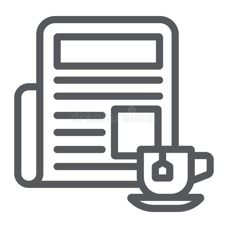 Zeitung mit Schalenlinie Ikone, Morgen und Nachrichten, Tageszeitungszeichen, Vektorgrafik, ein lineares Muster auf einem weißen vektor abbildung