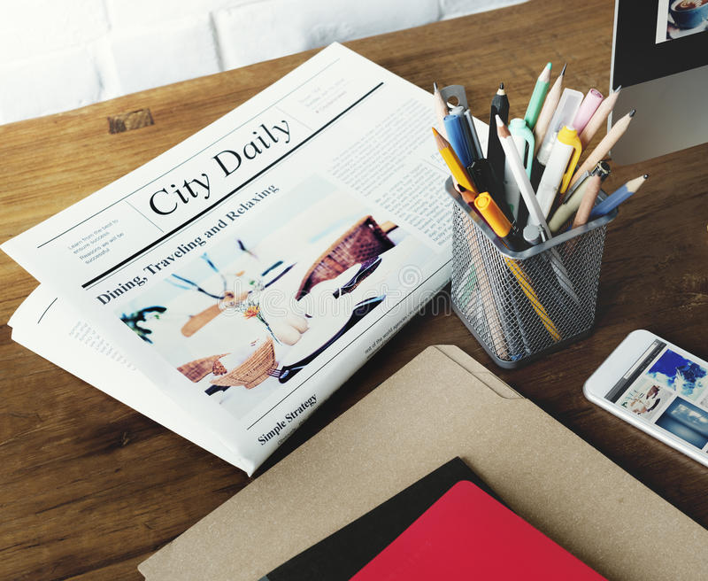 Zeitung Pen News Folder Lifestyle Concept stockfotografie