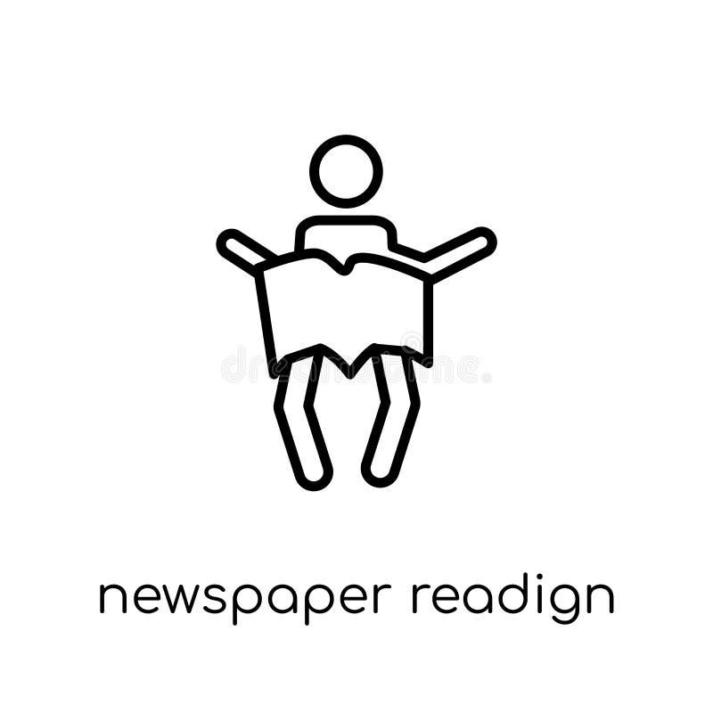 Zeitung readign Ikone Modischer moderner flacher linearer Vektor Newspap stock abbildung