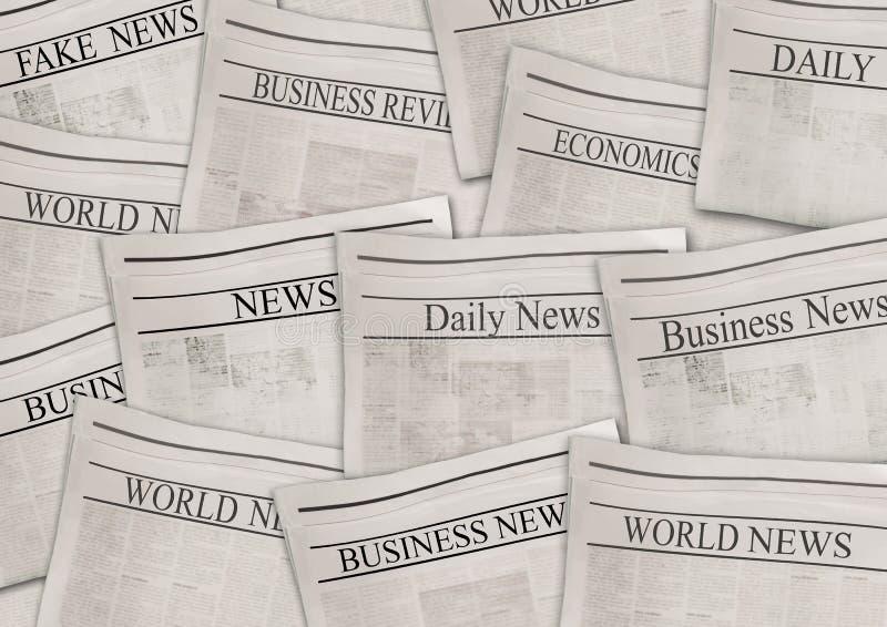 Zeitungen mit Schlagzeilen auf horizontaler Oberfläche Alter Zeitungshintergrund stock abbildung