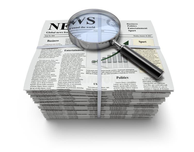 Zeitungen mit Vergrößerungsglas stock abbildung