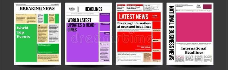 Zeitungs-Abdeckungs-Satz-Vektor Mit Text-Artikel-Spalten-Entwurf Technologie-und Geschäfts-Artikel Presse-Plan Leere Tageszeitung vektor abbildung