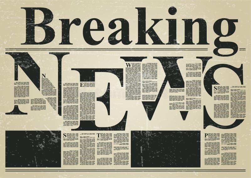 Zeitungs-Art-Schablone der letzten Nachrichten stock abbildung