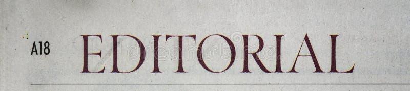 Zeitungs-Leitartikel stockbild