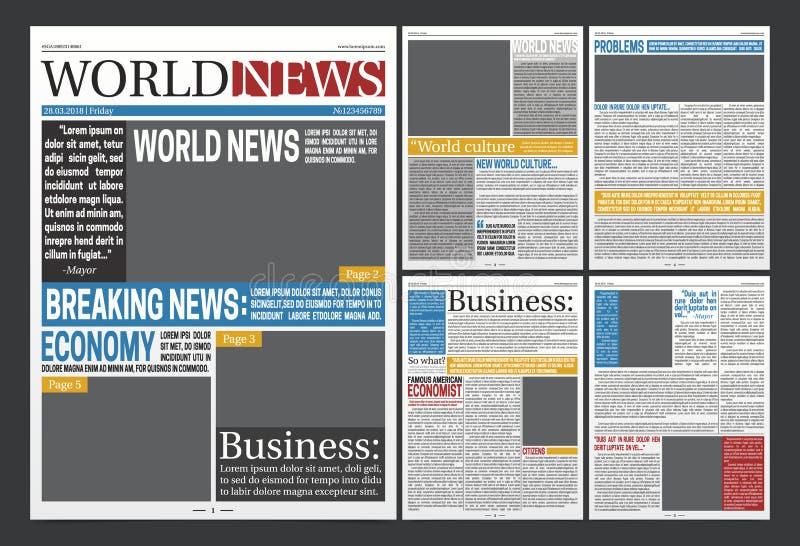 Zeitungs-Schlagzeilen-Schablonen-realistisches Plakat lizenzfreie abbildung