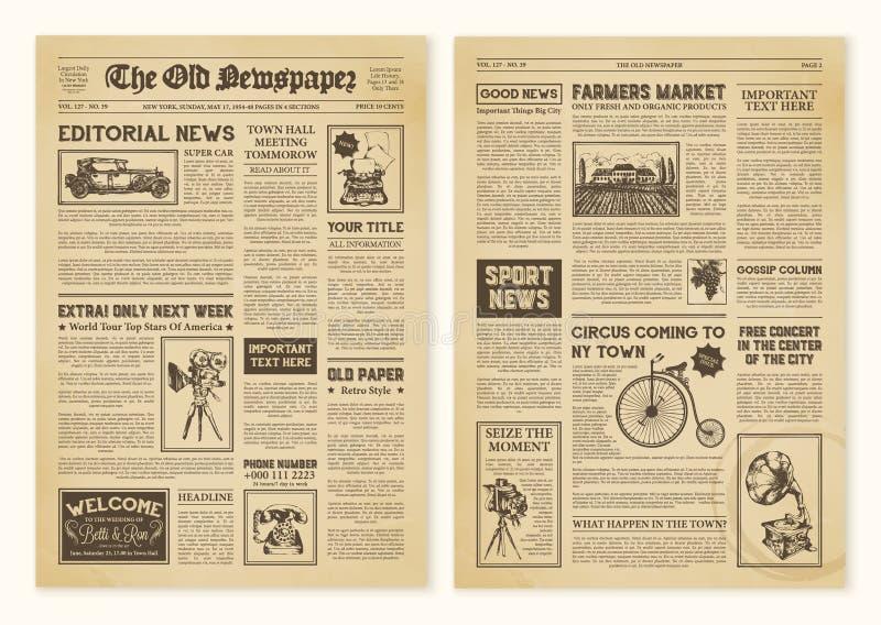 Zeitungs-Seiten im Weinlese-Design stock abbildung