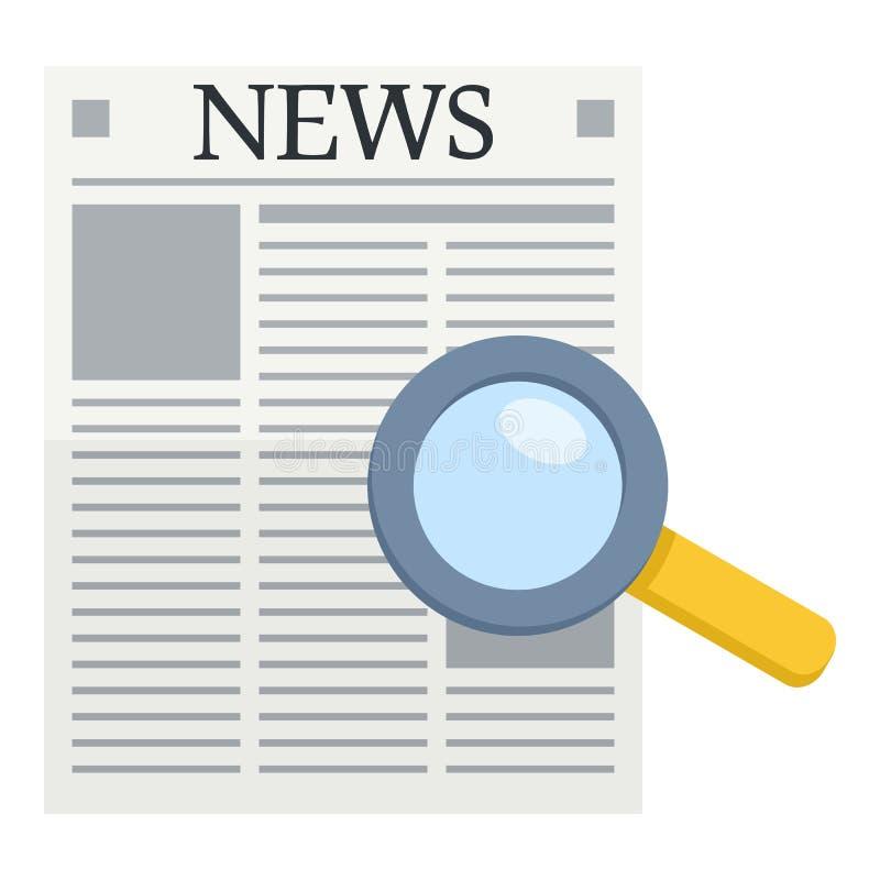 Zeitungs-u. Lupen-flache Ikone stock abbildung