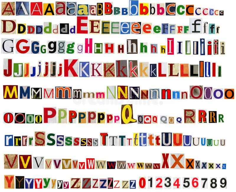 Zeitungsalphabet mit Buchstaben und Zahlen lizenzfreie stockbilder