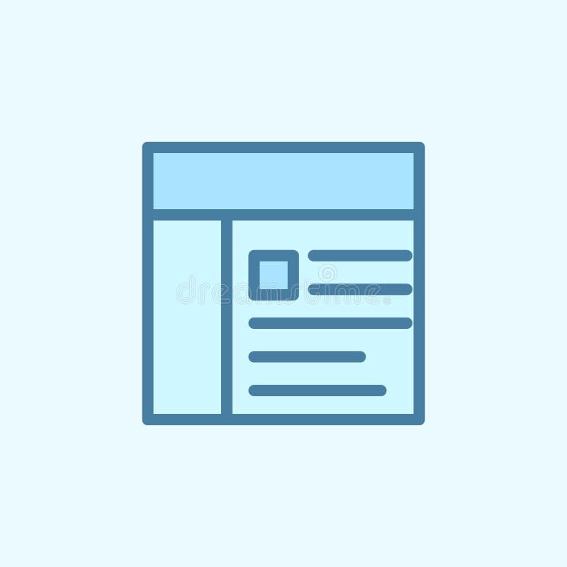 Zeitungsfeld-Entwurfsikone Element der 2 Farbeinfachen Ikone Dünne Linie Ikone für Websitedesign und Entwicklung, APP-Entwicklung vektor abbildung