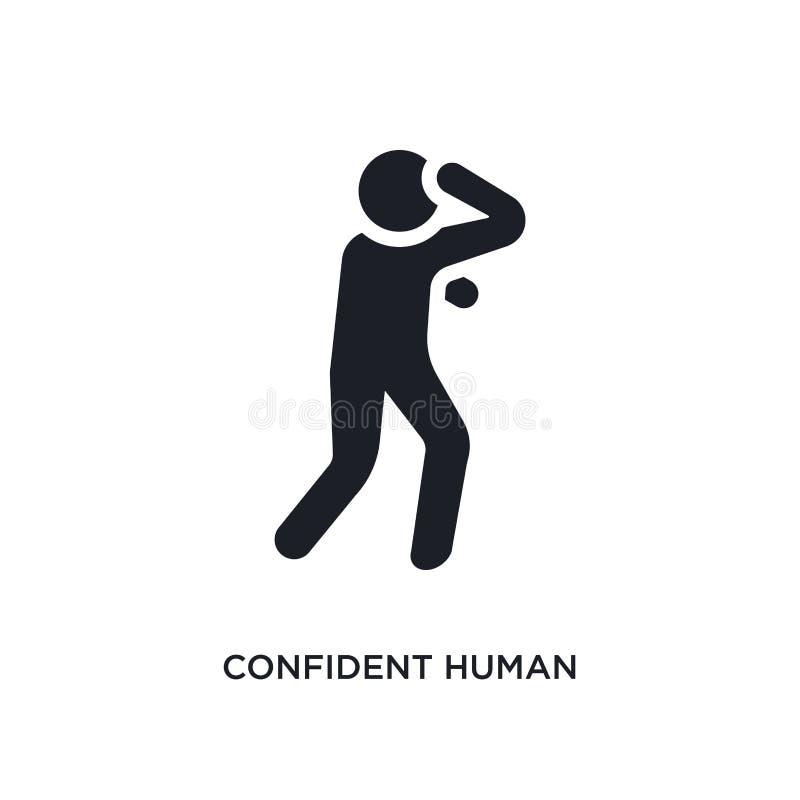 zeker mens geïsoleerd pictogram eenvoudige elementenillustratie van de pictogrammen van het gevoelsconcept het zekere menselijke  stock illustratie