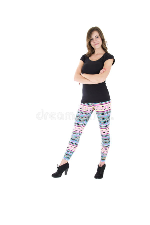 Zeker vrouwelijk model die kleurrijke beenkappen dragen royalty-vrije stock foto's