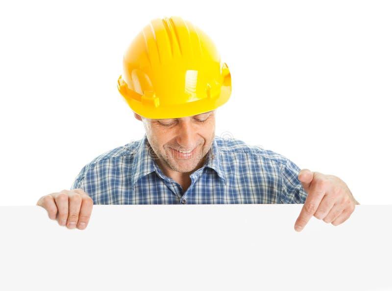 Zekere arbeider die lege raad voorstelt stock foto
