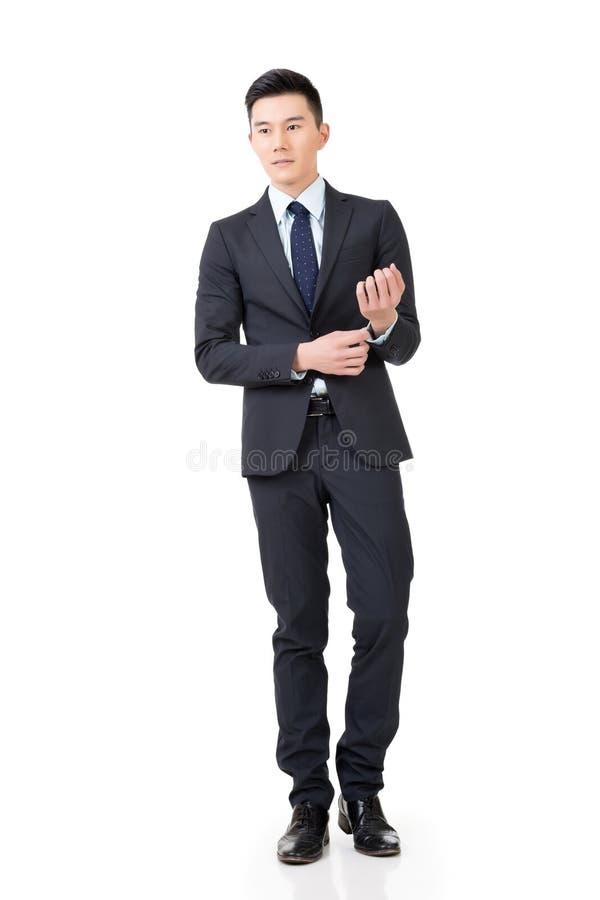 Zekere Aziatische zakenman stock foto
