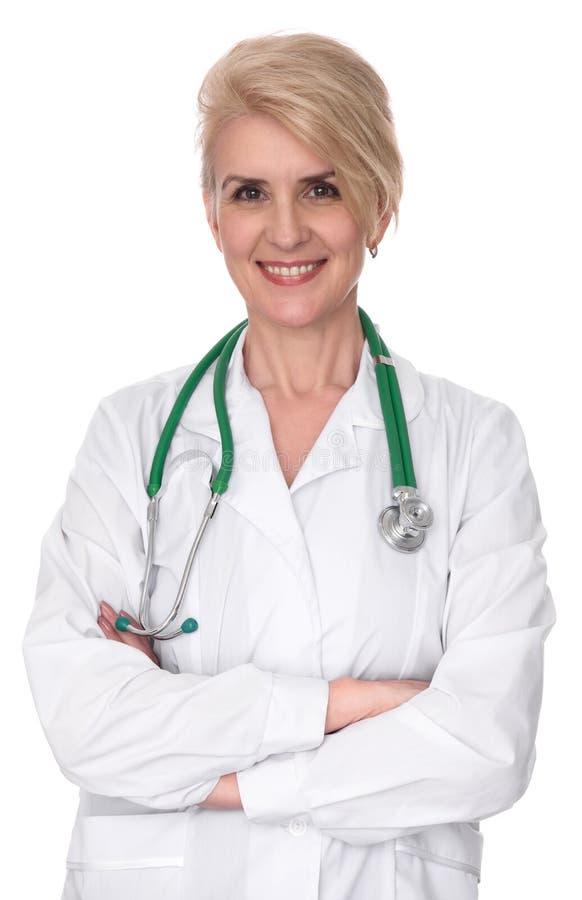 Zekere glimlachende vrouwelijke arts stock afbeelding