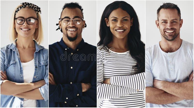 Zekere groep het diverse jonge ondernemers glimlachen stock fotografie