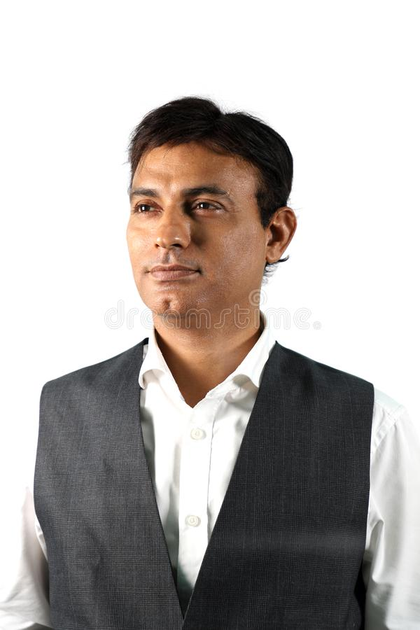 Zekere Indische Zakenman op Witte Achtergrond royalty-vrije stock afbeelding
