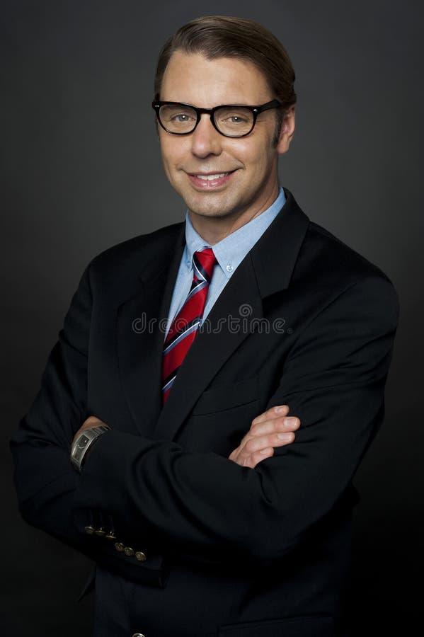 Zekere jonge manager stock fotografie