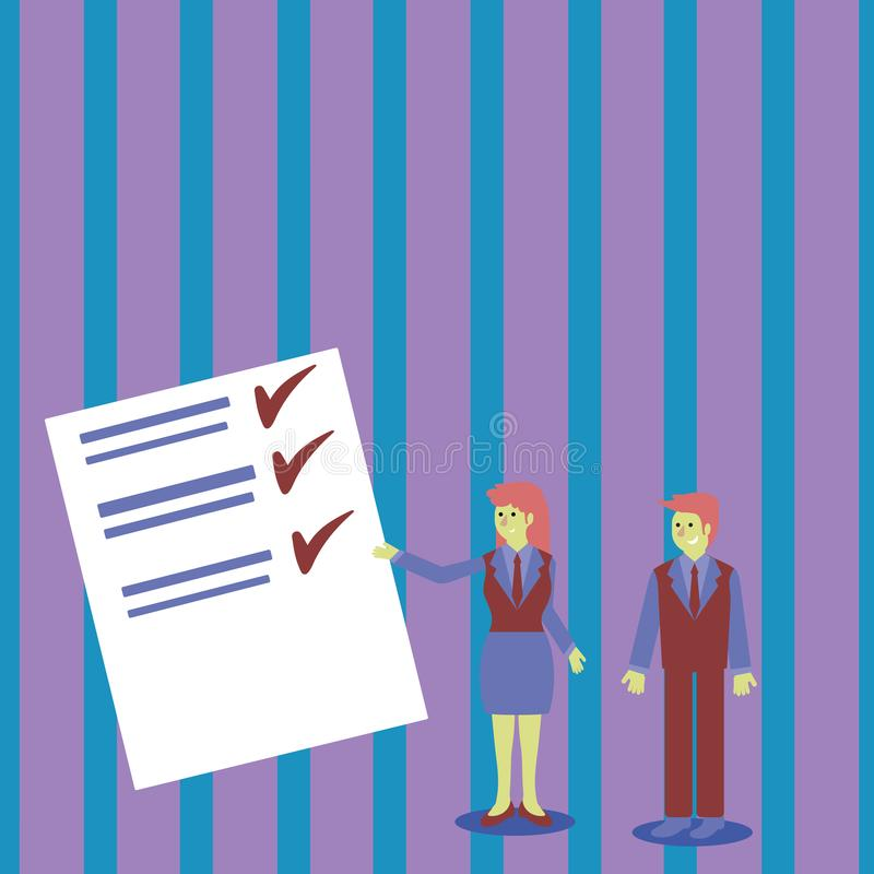 Zekere Man en Vrouw in Pak Status, Gesturing en het Voorleggen van Gegevensrapport over Kleurenraad creatief stock illustratie