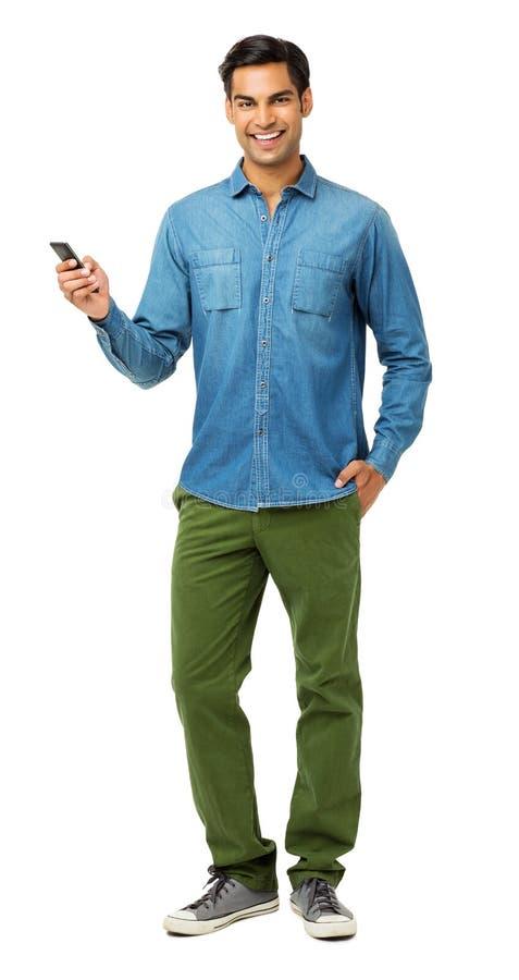 Zekere Mens die Slimme Telefoon met behulp van stock foto